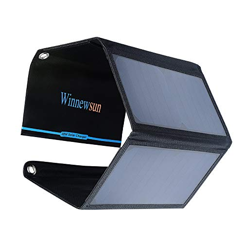 Portable Solar Charger 28W Foldable Solar Panel for Cell Phones,for iPhone 11/Xs/XS Max/XR/X/8/7 iPad Pro/Air/Mini Galaxy S9/S8/S7/S6 More