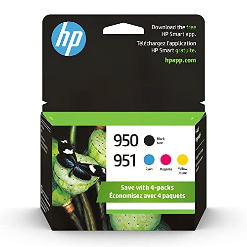 HP 950 & 951 | 4 Ink Cartridges | Black, Cyan, Magenta, Yellow | Works with HP OfficeJet Pro 251dw, 276dw, 8600 Series, 8100 | CN049AN, CN050AN, CN051AN, CN052AN