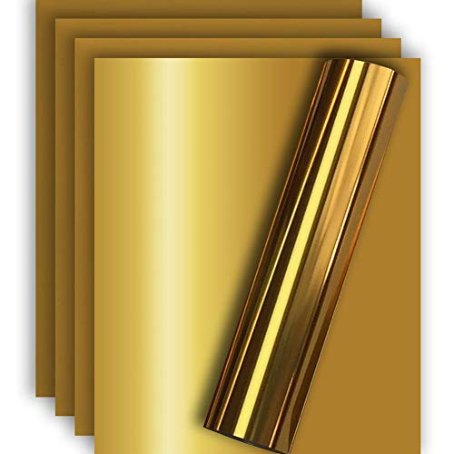 Tvinyl Warehouse Gold Metallic HTV Heat Transfer Foil Vinyl for Tshirt and Apparel 12' X 10'(Pack of 5), Easy to Weed and Iron on, Guaranteed Size