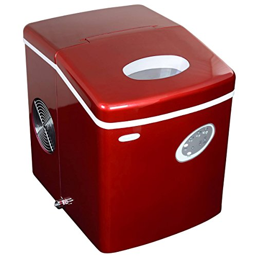NewAir Portable Ice Maker 28 lb. Daily - Countertop Compact Design - 3 Size Bullet Shaped Ice - AI-100R - Red