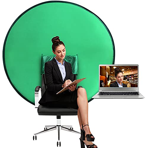 Green Screen Chair, Portable Webcam Background, 4.65 Ft Green Background Screen Portable, Chroma Key Green for Video Chats, Zoom, Skype, Green Screen Video Backdrop.(56in/142cm)