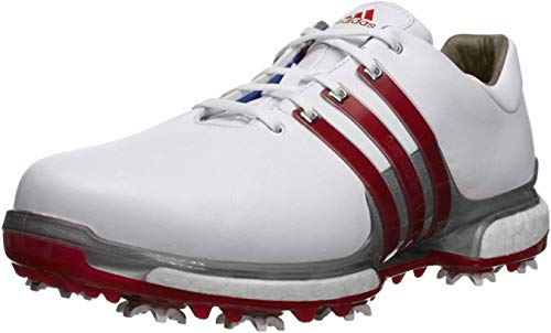 adidas Men's TOUR360  2.0 WD Golf-Shoes, Ftwr White/Scarlet/Dark Silver Metallics, 9 Wide US