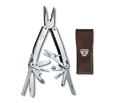 Victorinox Swiss Army Swisstool Spirit X with Leather Pouch Stainless Steel, 105mm