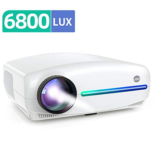 VIVIMAGE Explore 3 Projector for Outdoor Movies, 6800 Lux Full HD 300' Native 1080P Projector 60Hz Compatible TV Stick, 2 HDMI, VGA, Smartphone, PC, TV Box, PS4, ±40° Electronic Keystone Correction