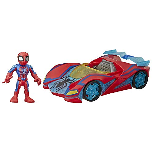 Super Hero Adventures Playskool Heroes Marvel Spider-Man Web Racer, 5-Inch Figure and Vehicle Set, Collectible Toys for Kids Ages 3 and Up