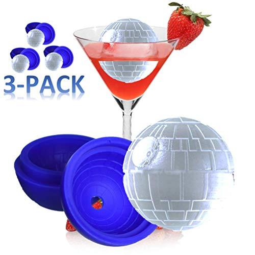 Texas Deluxe Ice Cube Tray Silicone Death Star Wars Ice Cubes for Whisky Ball Maker Silicone Mold 3' - Creates 2.5' Nice Unique Round Ice Cubes (3)