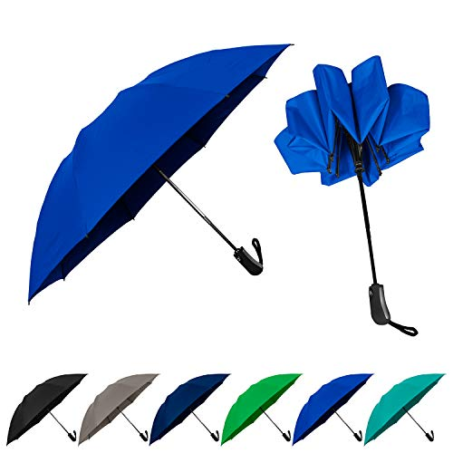 StrombergBrand Reversa (Automatic Reverse Umbrella), Compact Inverted Umbrella For Women and Men, Small Folding Rain and Windproof Umbrella - Inside Out Design, Outdoor Umbrella, Royal Blue Umbrella