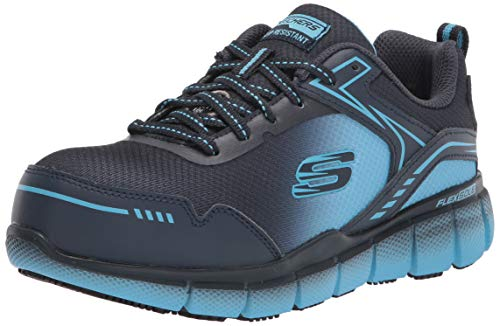 Skechers Women's Lace up Athletic Safety Toe Construction Shoe, Navy/Blue, 6