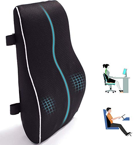 Lumbar Support Pillow for Office Chair Car Memory Foam Back Cushion for Back Pain Relief Improve Posture Large Back Pillow for Computer, Gaming Chair, Recliner with Mesh Cover Double Adjustable Straps