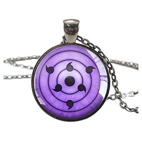 Sharingan Pendant Chain Necklace - Black/Metal (Rinnegan)