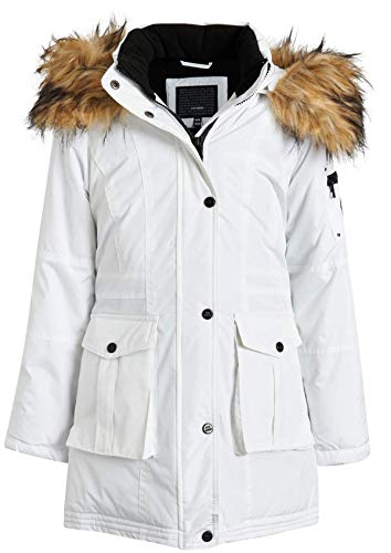 Steve Madden Girls Heavyweight Durable Winter Parka Expedition Jacket with Fur Trimmed Hood (White, 7/8)
