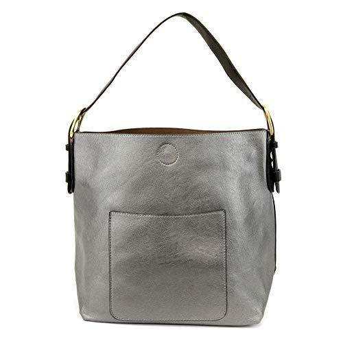 Joy Susan Women's Hobo 2-in-1 Handbag With Black Handle, Pewter/Black, One-Size