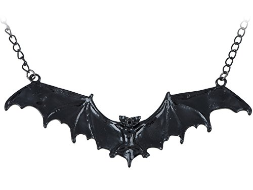 ALILANG Frightening Halloween Enamel Paint Flying Bat Metal Chain Pendant Necklace, Black