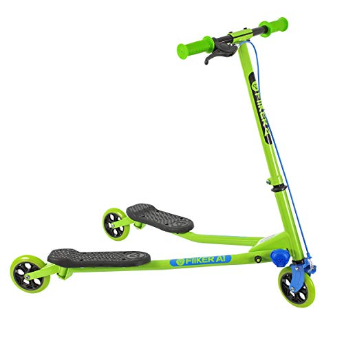Yvolution Y Fliker Air A1 Swing Wiggle Scooter | Three Wheels Drifter for Boys and Girls Age 5 Years Old and Up (Green New)