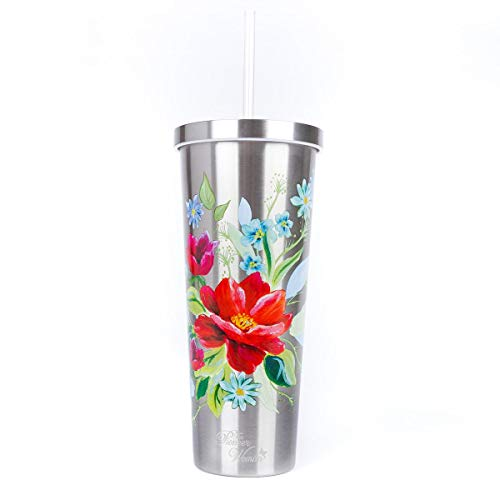 The Pioneer Woman Stainless Steel Tumbler Travel Cup 24 Oz Insulated Floral Silver