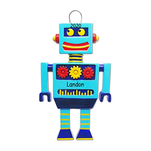 Personalized Robot Christmas Tree Ornament 2020 - Blue Best Friend Electronic Toy Wonder Workshop Game First Grand-Kid Daughter Mechanic Retro Wow Wee Coji Vernie Gift Year - Free Customization