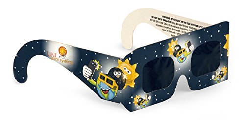 Lunt Solar Systems Junior Size Premium CE & ISO Certified Eclipse Glasses, Pack of 4