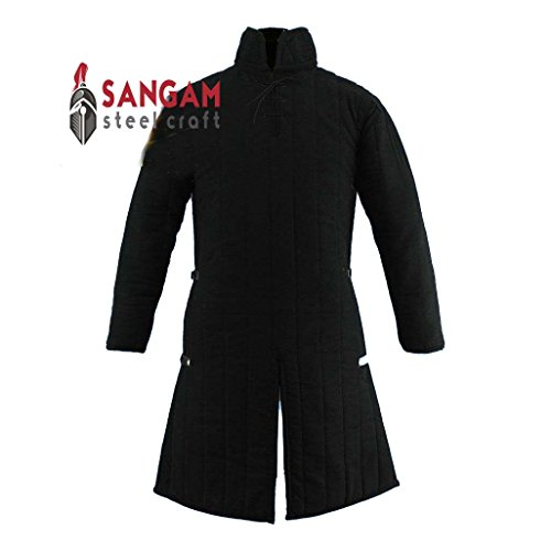 SANGAMSTEELCRAFT Medieval Gambeson Thick Padded Long Coat Aketon Jacket Armor Costume Cotton Fabrics (LARGE, GAMBESON COAT)