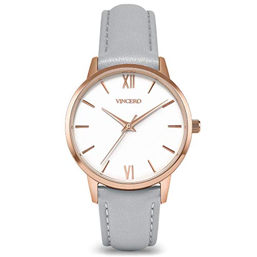Vincero Luxury Women's Eros Wrist Watch with a Leather Watch Band — 33mm Analog Watch — Japanese Quartz Movement (Rose/Fog)