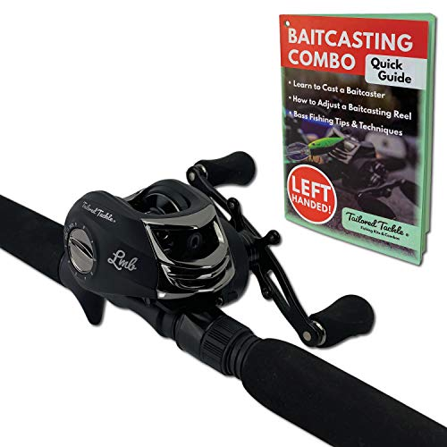 Tailored Tackle (Left Handed Bass Fishing Rod Reel Baitcasting Combo 7 Ft 2 -Piece | Casting Rods Power: Med. Heavy Fast Action | 7 BB Baitcast Gear Ratio - 6.3:1 | Baitcaster Pole