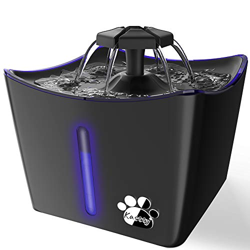 Cat Water Fountains, 3L/101oz Pet Water Fountain, Whisper Quiet Cat Drinking Fountain, Kitty Water Fountains Water Bowl for Cats, Dogs, Birds, Cat Water Dispenser with LED Light,1 Cat Waterer Filter