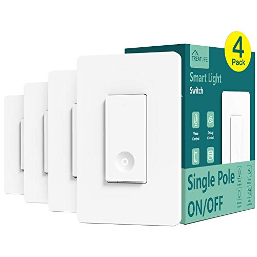 Smart Light Switch, Treatlife 2.4Ghz Smart Switch WiFi Light Switch Single-Pole, Neutral Wire Required, Works with Alexa and Google Assistant, Schedule, Remote Control, FCC/ETL Listed, 4 Pack