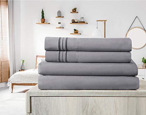 Elif Queen Size Bed Sheets Set - Brushed Microfiber 1800 Bedding - Wrinkle Free, Deep Pocket, Machine Washable, Hypoallergenic, Fade Resistant Bedding Sheet Set - 4 Piece Set (Gray, Queen)