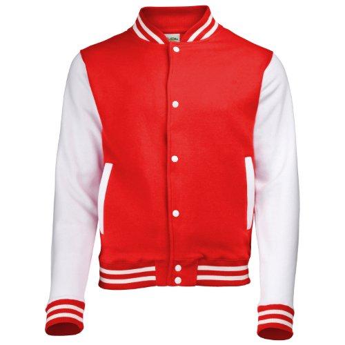 AWDis Hoods Big Boys' Varsity Letterman Jacket Fire Red/White 12 to 13 Years