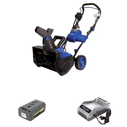 Snow Joe iON18SB-HYB 40-Volt iONMAX Hybrid Brushless Single Stage Snowblower Kit | 18-Inch | W/ 4.0-Ah Battery and Charger