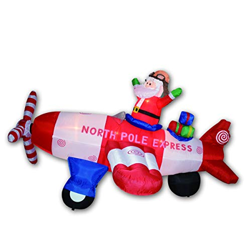 GOOSH Animated - 8 Foot Wide Christmas Inflatable Santa Claus Flying Airplane Blow Up Holiday Yard Decorations