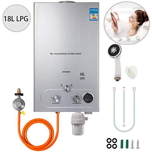 VEVOR 18L Upgrade Type Tankless Propane Water Heater 4.8GPM Propane Hot Water Heater with Water Filter & Gas Regulator for Outdoor Home RV etc
