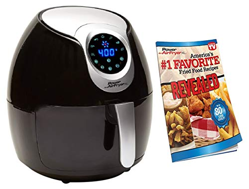 Power Air Fryer XL 3.4 QT Black - Turbo Cyclonic Airfryer With Rapid Air Technology For Less or No Oil. Include Recipes Book (Renewed)