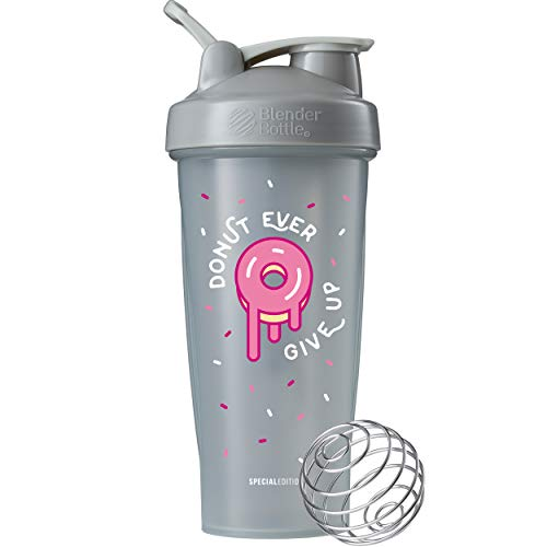 BlenderBottle Just for Fun Classic Shaker Bottle Perfect for Protein Shakes and Pre Workout, 28-Ounce, Donut Ever Give Up