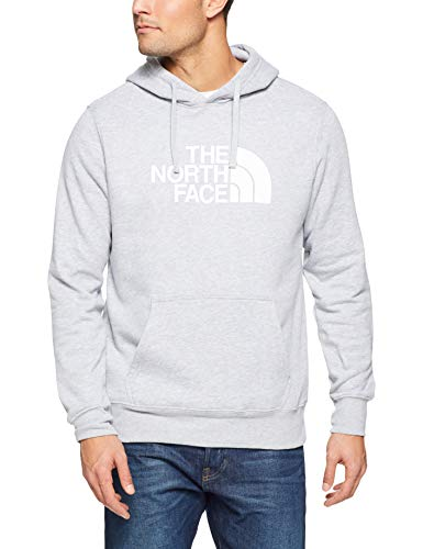The North Face Men's Half Dome Pullover Hoodie, TNF Light Grey Heather & TNF White, M