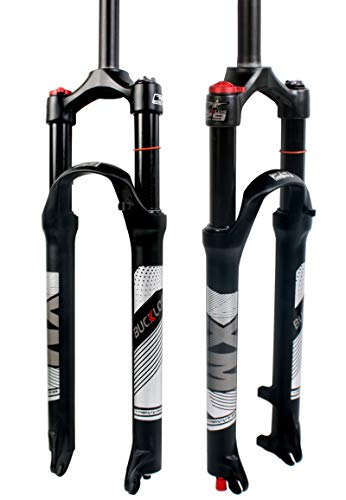 BUCKLOS 【US Stock】 26 27.5 29 inch Mountain Bike Fork Rebound Adjust, MTB Air Fork 120mm Travel Ultralight Gas Shock Absorbers Disc Brake, fit Road/Mountain Bicycle XC/AM/FR Cycling