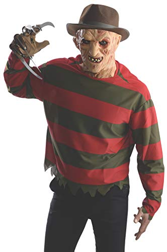 Rubie's Men's Nightmare On Elm St Freddy Krueger Costume Shirt with Mask, Multicolor, Extra-Small