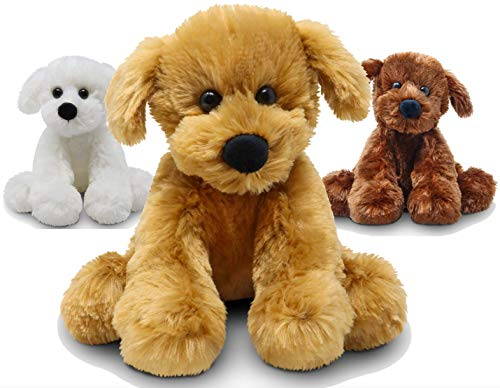 Fluffuns Puppy Dog Stuffed Animals - Stuffed Dog Plush Toys - 9 Inches (Brown Golden White)