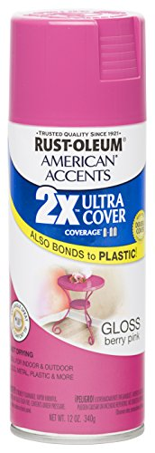Rust Oleum 280700 American Accents Ultra Cover 2X Spray Paint, Gloss Berry Pink, 12-Ounce