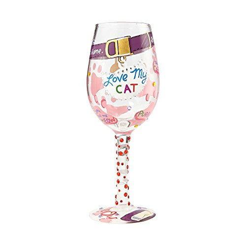 "Designs by Lolita ""love My Cat"" Hand-Painted Artisan Wine Glass, 15 oz."
