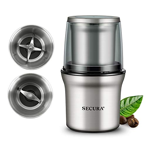 Secura Electric Coffee Grinder and Spice Grinder with 2 Stainless Steel Blades Removable Bowls