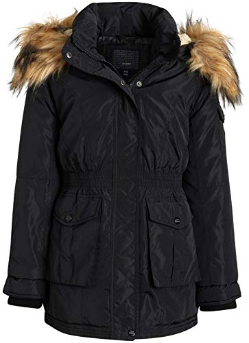 Steve Madden Girls' Winter Coat - Anorak Puffer Parka Jacket with Fur-Trim Hood