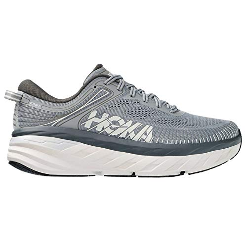 HOKA ONE ONE Mens Bondi 7 Mesh Wild Dove Dark Shadow Trainers 10.5 US