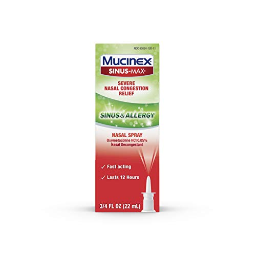 Sinus & Allergy Fast Acting Nasal Congestion Relief Spray, Mucinex Sinus Max (.75 oz in a bottle), Fast Acting 12 Hour Severe Nasal Congestion Relief