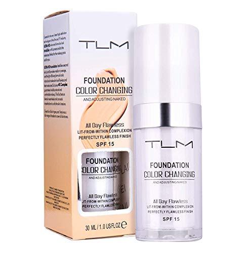 Avashine Color Changing Foundation, All-Day Flawless Foundation Makeup, Foundation Cream, Liquid Foundation,30ml, SPF 15, Lightweight,Fragrance-Free, Warm Skin Tone