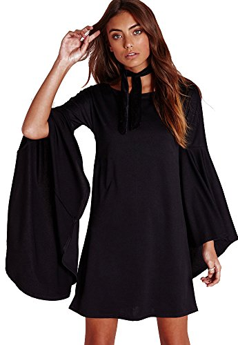 VIVICASLTE Long Flare Bell Sleeve Blouse Mini Dress (Large, Black)