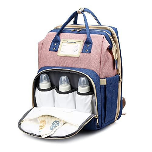 Diaper Bag Backpack with Foldable Baby Crib, Mommy Bag with Changing Station 3 in 1 Upgraded Muti-Functional, Travel Bag with USB Charging Port, Waterproof Large Portable Bassinet for Dad & Mom