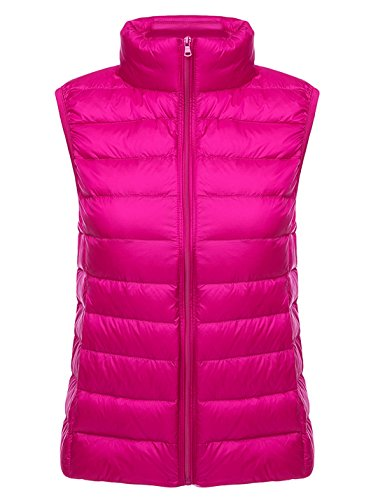 Yeokou Womens Slim Packable Lightweight Quilted Short Puffer Down Vest Waistcoat Rose Red