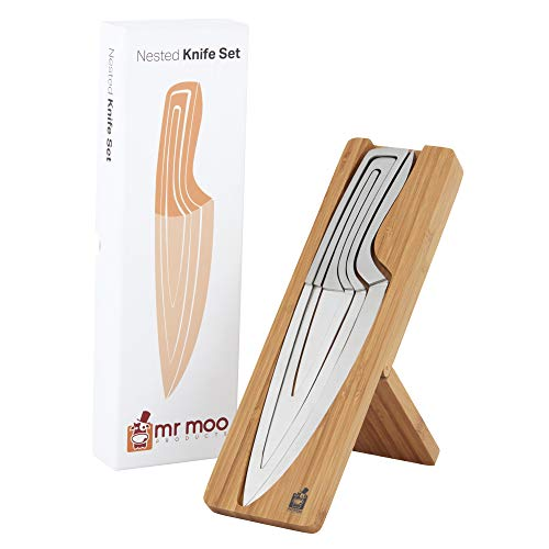 Kitchen knife set, Mr Moos 4 piece nested knife set with magnetic bamboo holder