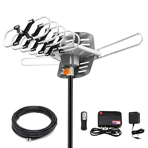 HDTV Antenna Amplified Digital Outdoor Antenna 150 Miles Range, 360 Degree Rotation Wireless Remote,with 33FT Coax Cable - Support UHF/VHF/1080p/ 4K Ready -Without Pole