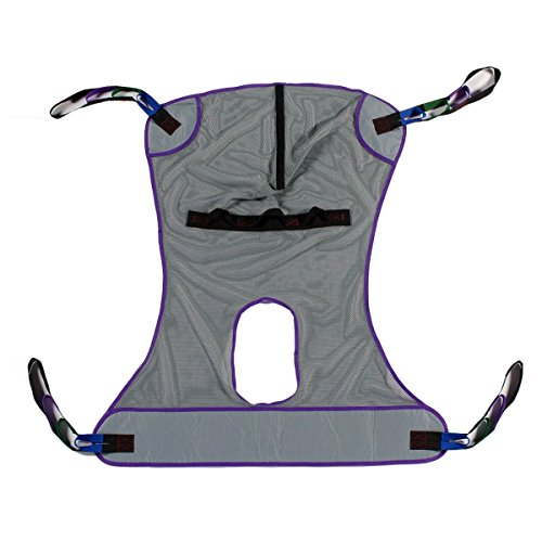 Patient Aid Full Body Mesh Commode Patient Lift Sling, 600lb Weight Capacity (Large)